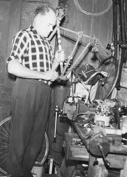 H R Morris at work in his London workshop