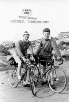 David Hinds puts the other view: Yes, we toured on fixed. Myself (on right) and a schoolfriend at Lands End having cycled from South London staying at Youth Hostels during the Easter Holiday 1957. I Still have the Claud road/track bilam frame! I rode with the Delta RC as a NCU Private Member. The famous signpost at Land's End shows it was 296 miles back to their home at Catford.