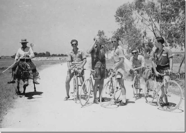 It wasn't all racing. We are on a two week tour of Cyprus, on the Famagusta to Larnaca road. Me on the left (not the donkey!).