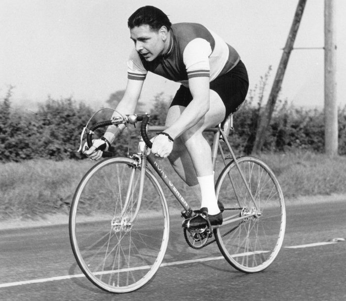 A classic time-trial image of Brian Curtis of the Cambridge Town & County CC riding an Ephgrave-built Rory O'Brien with all the top equipment of the day, Airlite hubs on sprint rims probably Fiamme, Chater-Lea cranks (but not Chater pedals), Brooks saddle? Looks like Weinmann brakes for lightness, the obligatory bell, and for the well-off rider – stopwatch and clip.