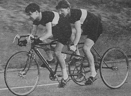 E March and J Lieper, Viking RC on tandem-trike