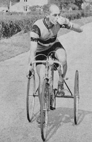 To complete the set, a solo trike ridden by Jack Nunn in the 1957 VTTA 12-hour time trial