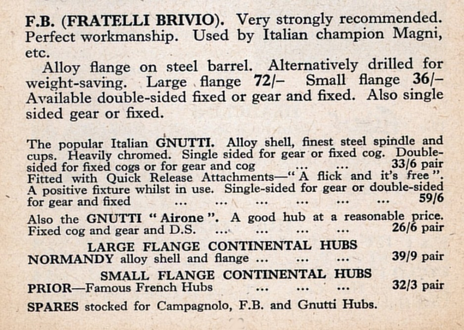 F.B. also made the first Campagnolo hubs.