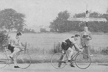 Start of the Bournemouth Jubilee Wheelers 25. 1960 - Timekeeper Len Ryall. Geoff Quinell (Farnham RC) is pushed off and T Stevenson (Verulam) sets his watch whilst waiting to go next.