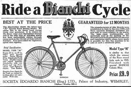 Bianchi advert 1930