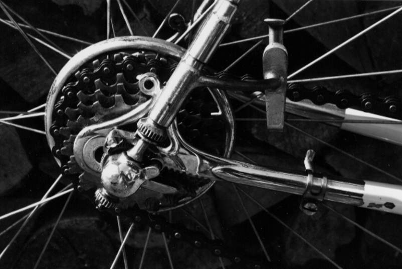 Detail of the business end of the gear showing the serrated rear-end of the frame