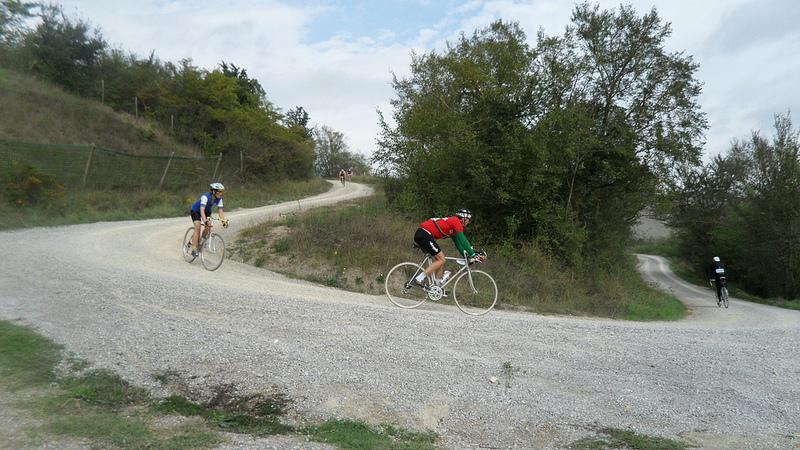 Carefully does it - sliding downhill on Strada Bianca