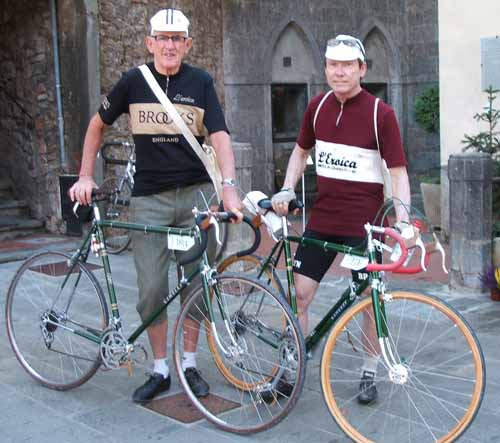 Peter and Bob Freeman with their dark green Cinellis