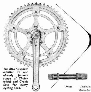 The AB.77 cotterless chainset introduced in 1962