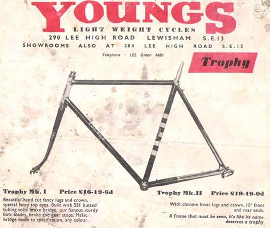 Young's catalogue from early 1960's showing top of the range 'Trophy'