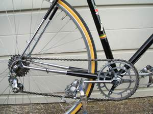 Drive chain of Paris showing Chater Lea chainset with round cranks Boa pedals and Simplex 5-speed Tour de France rear changer