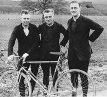 Typical pre-war time trialling scene, three 'very amateur riders' from Charlottville CC