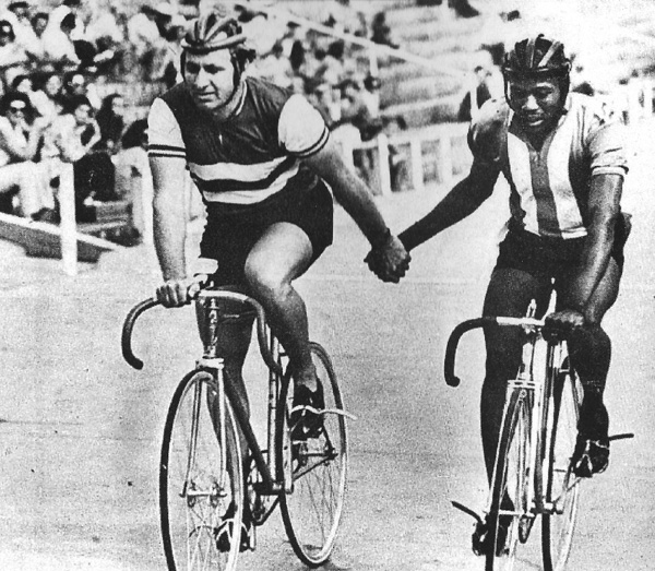 1970s SA Black match sprint champion, Siphiwe Ngwena, of Marievale Consolidated Mines, with his mentor and coach Tommy Shardelow (1952 Helsinki Olympics double silver medallist and multiple SA match sprint title winner in the 1950s).