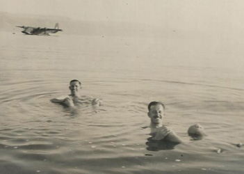 Not all time in the Middle East was spent on duty (or riding bikes). These two images show bathing in the Dead Sea with Empire Class Flying Boat (fore-runner of the Sunderland Flying Boat) in background, and camel riding near the Pryamids outside Cairo. They also visited Jerusalem, Tel Aviv and Haifa as well as doing duty trips to Suez Harbour. Being a driver in the RAF, GMG would have travelled much more than most during his tour of duty.