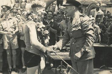 Buckshee Wheelers 50K massed-start Grand Prix de Gezira - 29 April 1945. The winner, Wally Morris