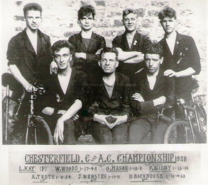 Chesterfield C & AC 25-mile Time Trial Championships, 1928 showing dress of the day. Seated front centre is 'Jimmy Webster' the 'builder of my Webster c1949