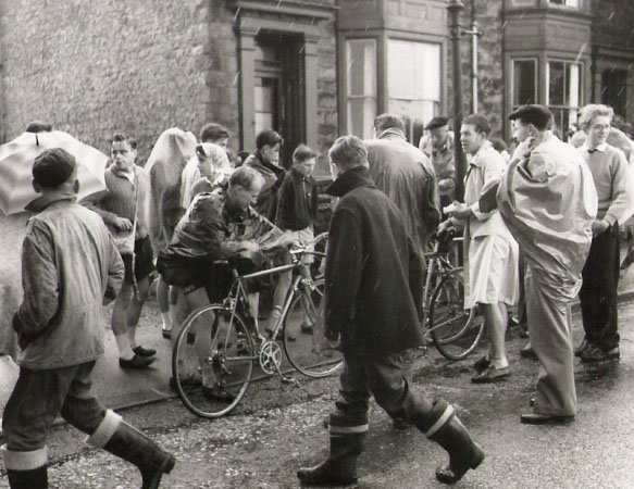 Chesterfield group 'cape up' in Derbyshire - it's raining again,1950's