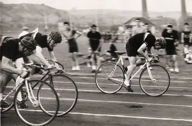 A track event at the Staveley Works cycling track near Barrow hill in Chesterfield early 50's I am led to believe it is the opening day and Reg Harris opened the event, everyone thought he'd do a couple of laps but apparently he wanted paying extra for that,