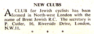 Entry in Cycling April 1950