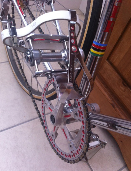Campag pedals minus quills, drilled toeclips and chainring