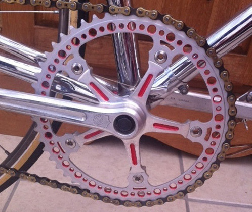 Another view of the drilled chainring