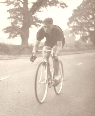 Brian Butterworth finishing a 25-mile TT on the T shaped K17 course on the Coventry Road