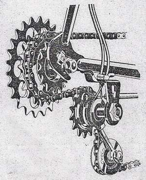 Cyclo 4-speed gear - new type with crossed cables Old type had the cable wound once around pulley