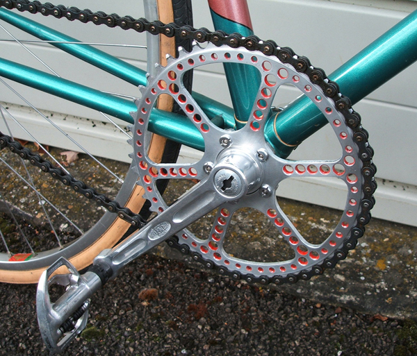 TA chainring drilled and painted