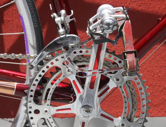 Campagnolo chainset with drilled outer ring and milled-out (by Flash) front of the clamp-on derailleur.