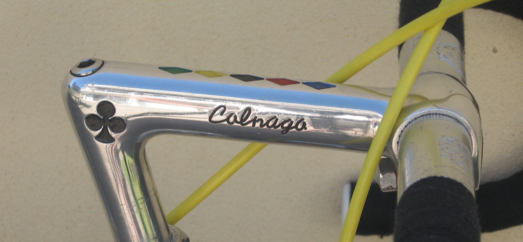 Genuine Cinelli stem (1973) with Colnago logo, Colnago script plus World Championship colours Similar Cinelli stems are often pantographed to increase their value