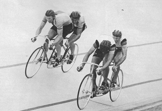 1975 UCI World Championship: Czech pairing of Vackar & Vymazal (on the outside) beat the West German team (Scheffer & Gerwis) for the silver medal