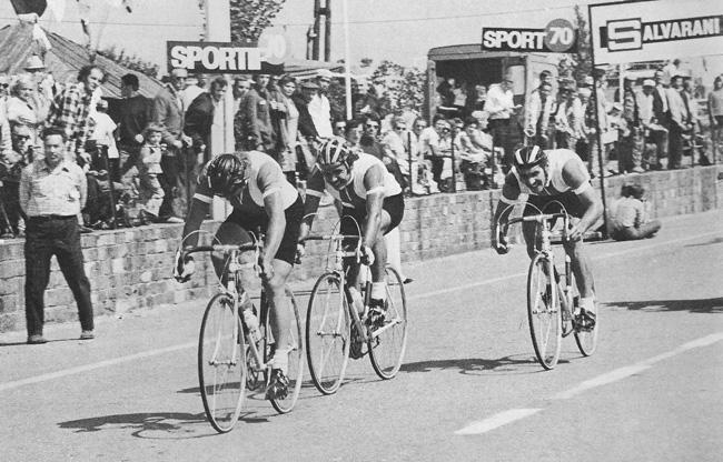 UCI World championships, Belgium, 1975. Polish team winning the 100km TTT. Team members (l to r): Szozda, Nowicki, Szurkowski (Mytnik dropped)