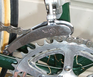 This is an example of the rear of the Campag cage raised because the rings are smaller than were used when the changer was sold