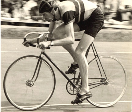 Mike Gambrill at speed in the pursuit at Fallowfield