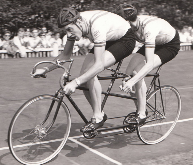 Mike and Robin riding a borrowed, rather small tandem (but still Carpenter) Velo Club Scacchi Meeting, Herne Hill, 1958 Mike and Robin beat the National 5-mile Tandem Record