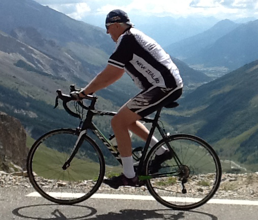 Robin riding the Galibier in his New Zealand kit - 2013