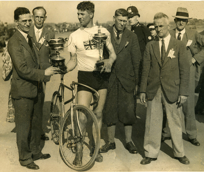 Dennis receiving both the Muratti and Vi-Tonica Gold Cups at Fallowfield.
