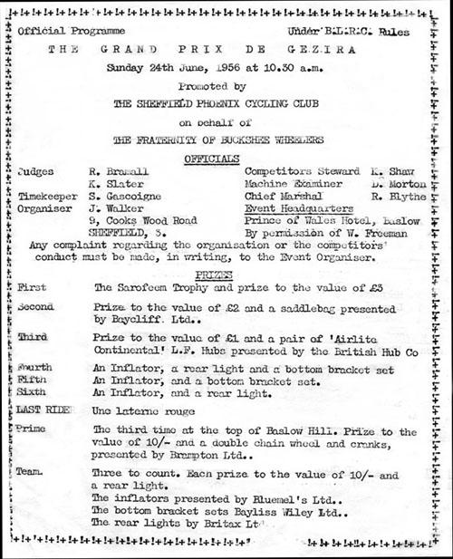 Programme for 1956 GP de Gezira, run in Derbyshire from Paul Gittins : Front cover