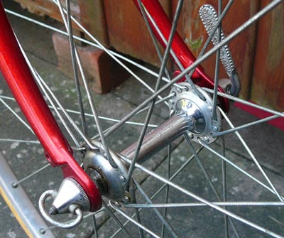Early Campagnolo Gran Sport hub with steel barrel and straight Q R levers