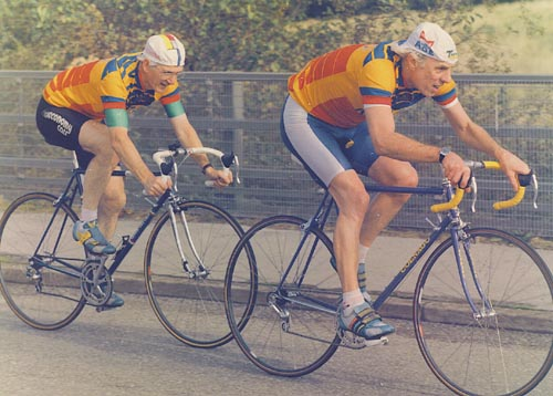 Terry Harradine, Concours owner (right) with Trevor Flowers, previous owner Welsh Cycling Association Vets 2-up Time Trial (c.1996) Still not acting their age!