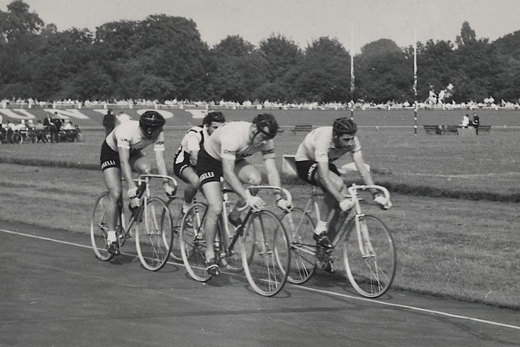 Herne Hill 1 - Shows Fausto Coppi leading with Nino Defilippis on the inside behind him; the other two riders are unknown! See below for an update. (David Griffiths has done some detective work on the above image, having seen an image of Sacchi come up on Google, being paced behind a Lambretta scooter. Using this to identify Sacchi one can see that he is in fact the leading rider on the outside of Coppi and is riding the dark frame and white bar tape in both shots. That means Elmo was the rider following Enzo with Defilipis on the inside. - Well done David!)