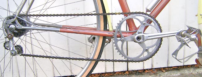 Drive train showing Simplex Tour de France gear and Lytaloy chainset and pedals