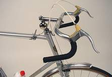 3 close views of the H R Morris : Head, stem/bars, brakes, and top-tube gear lever