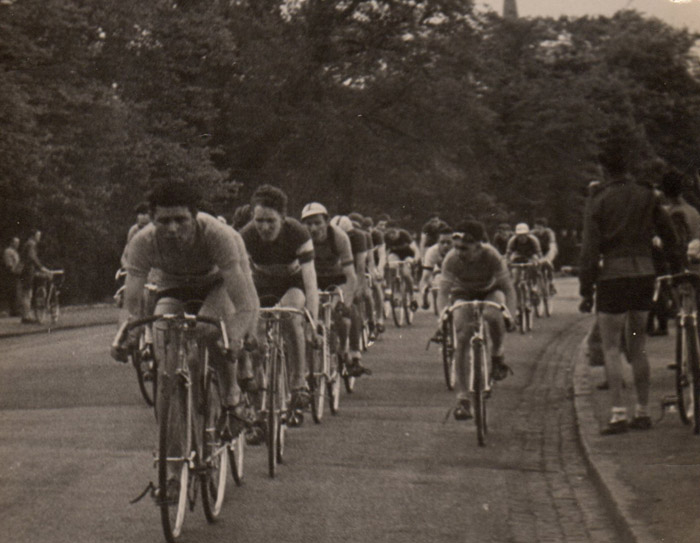 6 - Later in the race, Jim on right, dropping back to find a space in the peleton