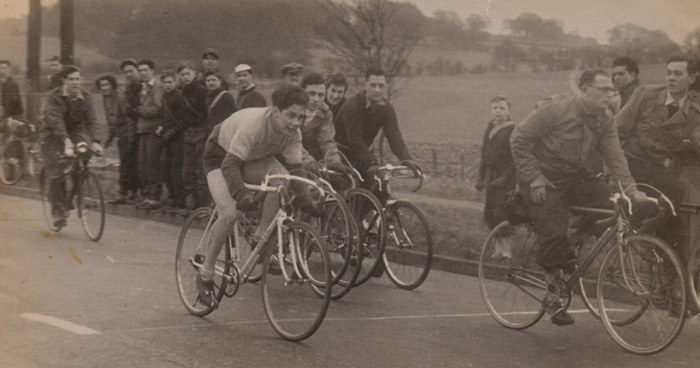 8 - Jim Case on a Dawes in the first cross-country race at Chobham, Kent (Dennis Talbot and Harry Burville spectating).
