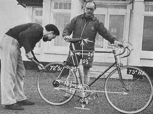 Image showing measurements of this machine when equipped with Paris/Roubaix gear Dave had the rear ends changed to Campag 1958 or shortly after