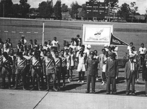 Cycling at The Debeers Stadium - date unknown (In the above photograph, cyclists stand on the right, next to provincial banners for Griqualand West and Natal suggesting it is an interprovincial contest.)