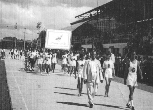 Parade. inter-schools sports day - date unknown (In the above photograph, cyclists are visible on the left in the middle distance)