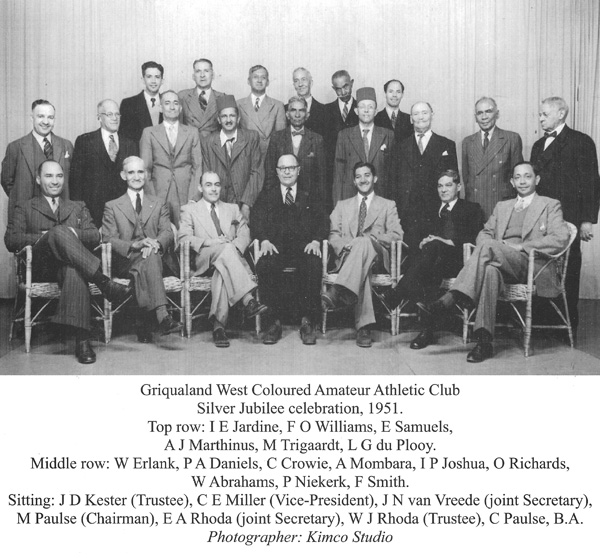 This 1951 photograph included the leading club members at the 25th anniversary celebrations. Note the presence of E.A. Rhoda, joint club secretary, in the front row, who was subsequently to figure prominently in the sport.
