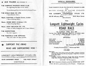 Programme: Langsett Road Race 1951 : Programme covers